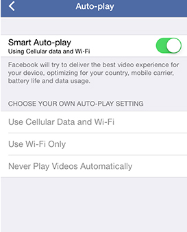 Disable Auto Play Facebook Videos on iPhone, iPad