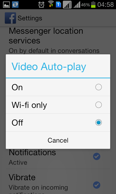set auto-play to 'On', 'Off' or 'Auto-Play on Wi-Fi only