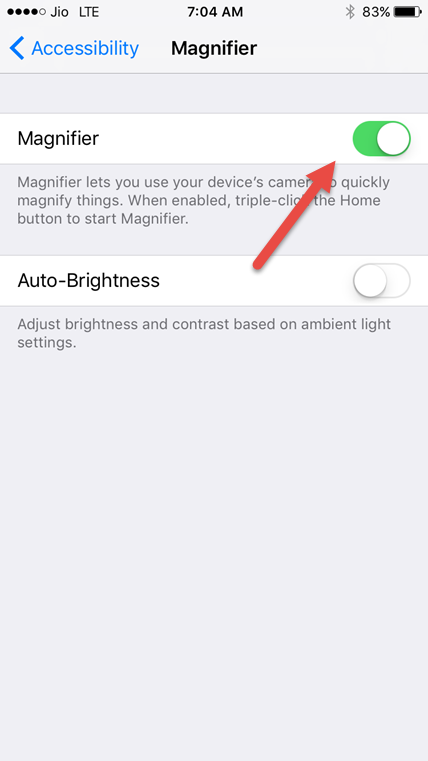 enable magnifier ios 10 in accessibility