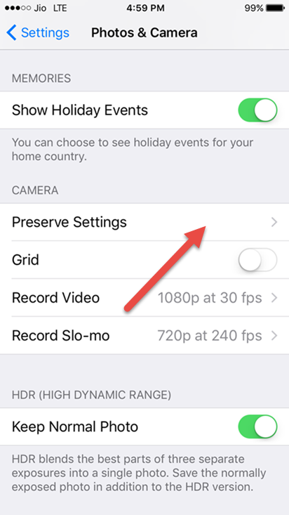 tap on preserve settings