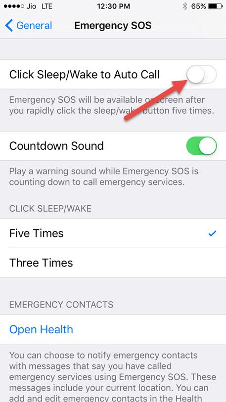 turn off emergency sos on iphone