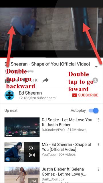 YouTube skip 10 seconds iphone