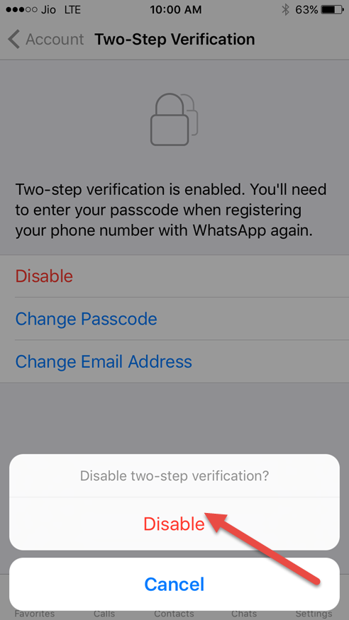 disable two step verification in whatsapp