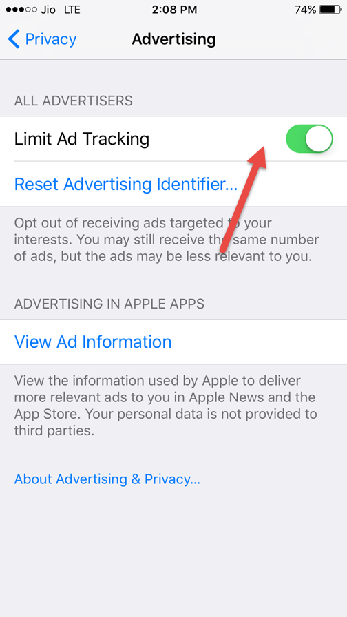 switch on limit ad tracking