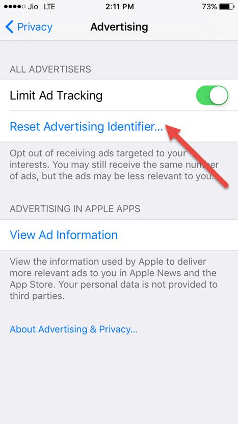 tap on reset advertising identifier