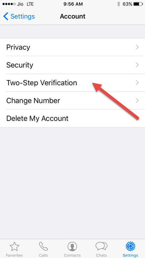 tap on two step verification