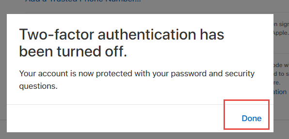 2-step authentication is turned off