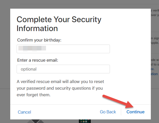 complete security questions