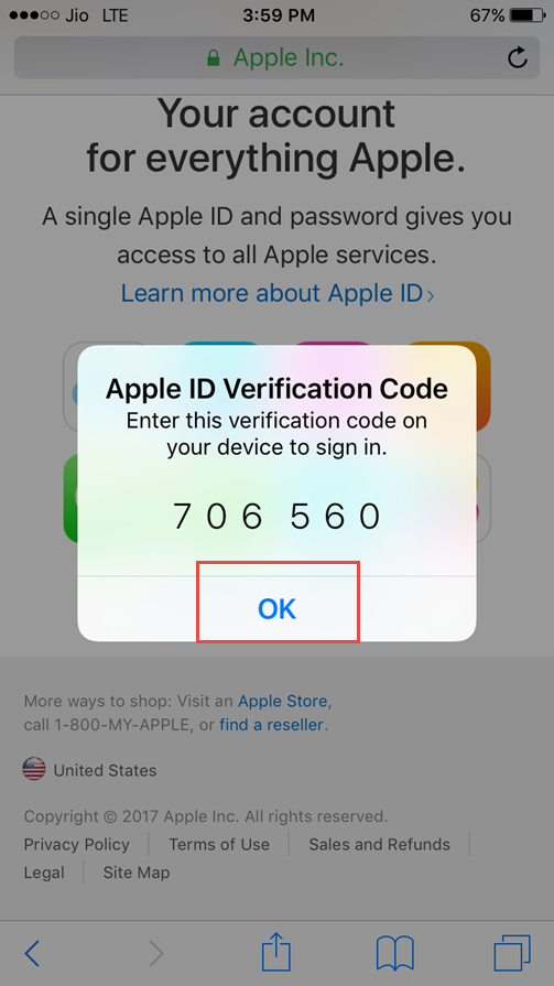 enter apple id verification code