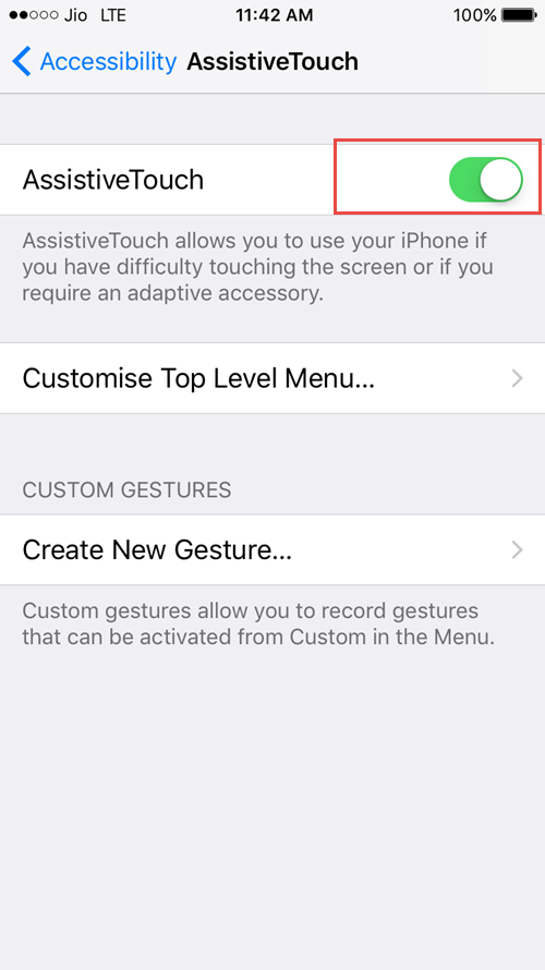 tap on assistive touch
