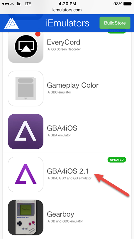 tap on GBA4iOS 2.1