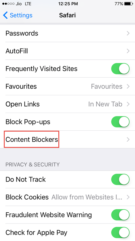 tap on content blockers