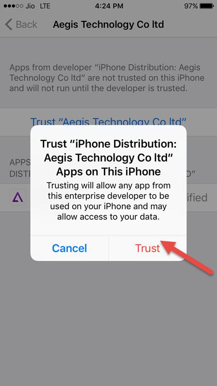 tap on trust again
